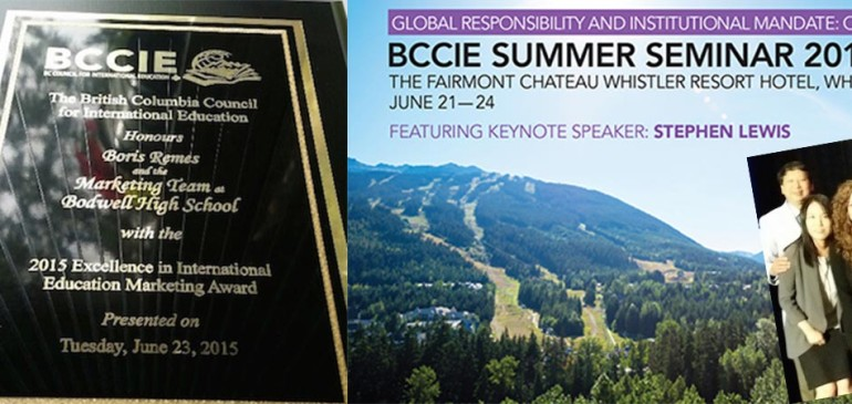 Bodwell Wins BCCIE Excellence in International Education Marketing Award