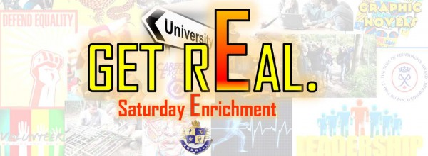 Promotional Image for new Saturday Enrichment Classes - Slogan is 'Get Real'